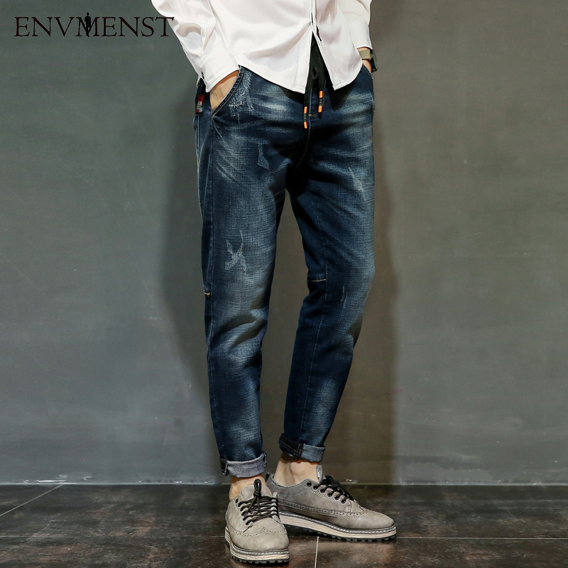 Envmenst Brand Men Korean Jeans Elastic Waist Drawstring Men Casual Fashion Slim Skinny Warm Denim Pants Big Size Hip Hop