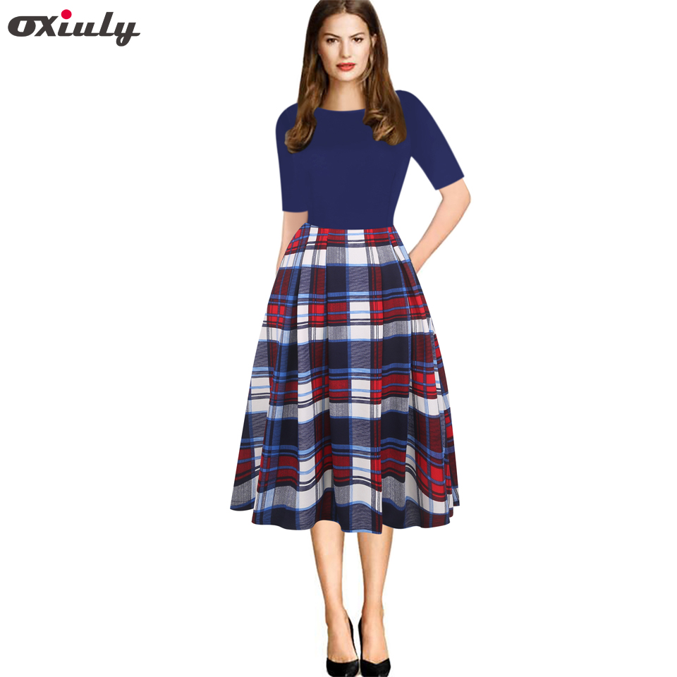 Oxiuly Vintage Casual Dress Half Sleeve O-neck Women Elegant Thin Plaid Printing Patchwork Office Work Feminino Vestidos