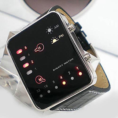 Digital Watch Men's Fashion Sports Digital Binary LED Display Faux Leather Strap Wrist Watch Watch Men Relogio Sport Watch