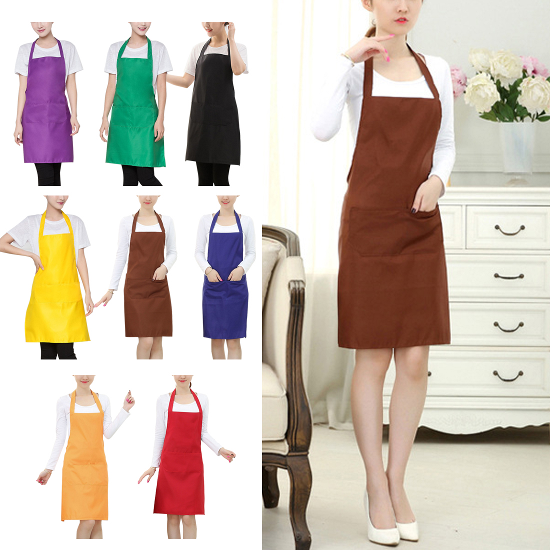 2x Solid Apron with 2 Pockets Chef Waiter Kitchen Restaurant Cooking Aprons