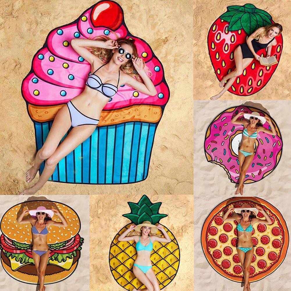 1Pc Hamburger Design Fashion Pizza Doughnut Chips Beach Towel Outdoor Picnic Mat Soft Blanket Decor Polyester Fiber Towel