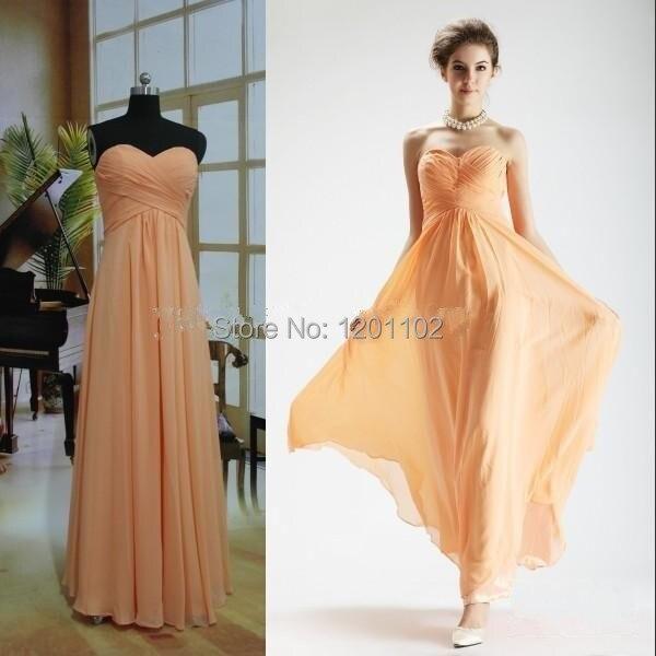 vestidos de fiesta 2015 de color naranja claro gasa verano dama de