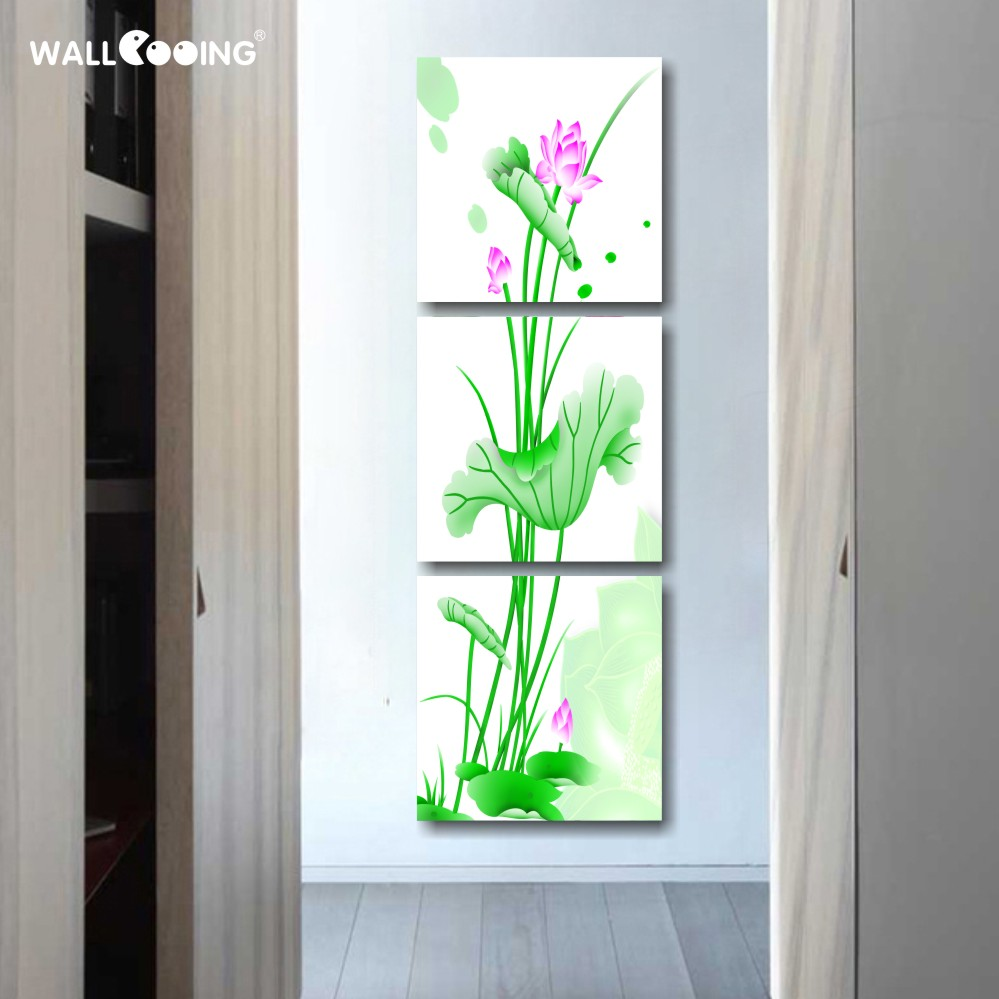 3 panels green lotus flower art paint canvas wall painting 3 panels green lotus flower art paint canvas wall painting modern vertical type home decoration pictures for living room izmirmasajfo
