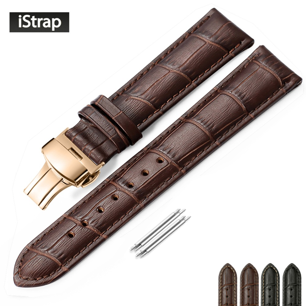 hodinky popruhy certina - iStrap Watch Strap Genuine Leather Watch Band Rose Gold Butterfly Buckle for Hour for Victorinox Certina Blancpain Watchband