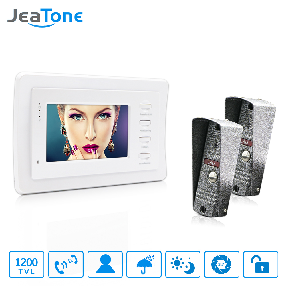 JeaTone 4''HD Wired Video Door Phone Video Door Bell Intercom Kit White Monitor Manual Button IR Night Vision Camera  For Water