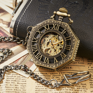 Image 5 - Luxury Unique Hexagonal Roman Number Pocket Watch with FOB Chain Steampunk Full Steel Mechanical Hand winding Gold Pocket Watch