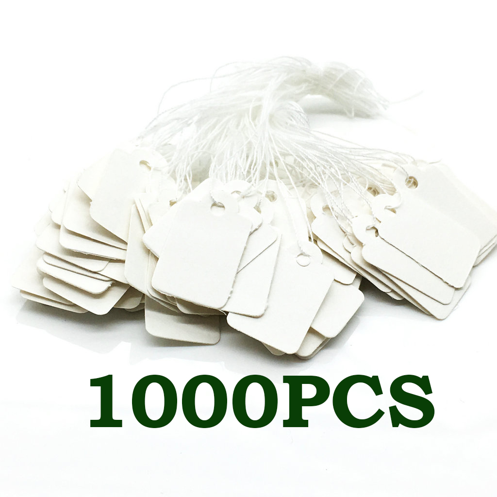 White Marking Tags Price Tags Writable Display Labels With Hanging String, 1000 Pack, 24x14mm