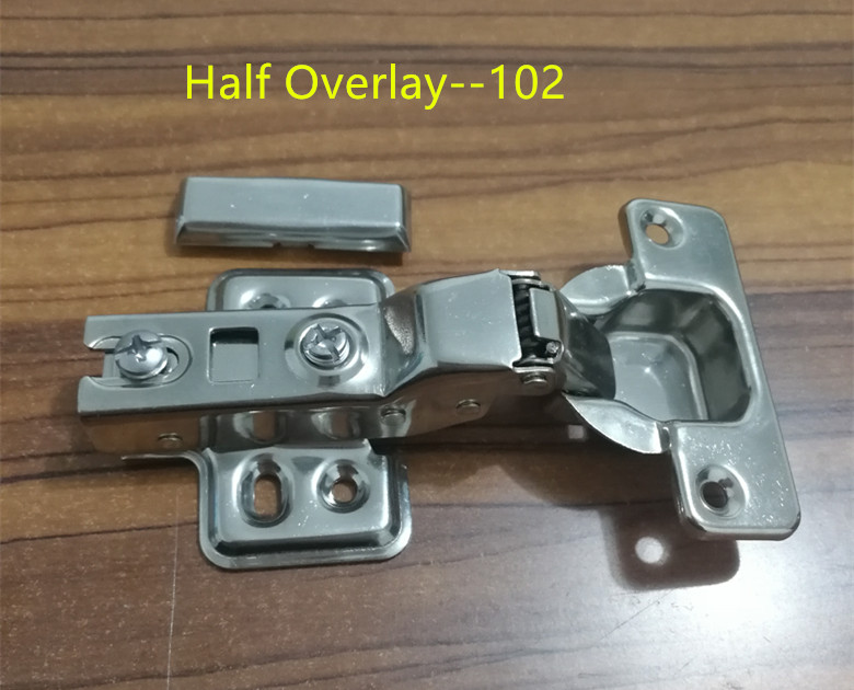 102 Half Overlay Stainless steel Hinges Hydraulic  Damper Buffer Cabinet  Door Hinges Soft Close Furniture hinges stainless steel door hinges hydraulic buffer automatic closing door spring hinge 125 78mm furniture cabinet drawer hardware