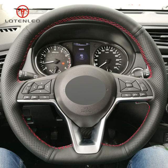 Acessórios Nissan Kicks PCD LQTENLEO-Preto-Genu-no-Couro-DIY-Cobertura-de-Volante-de-Carro-para-Nissan-Rogue-Chutes-X.jpg_640x640