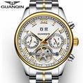 NEW GUANQIN Men's Watch Automatic Mechanical Tourbillon Watch Calendar Luminous Week Month Waterproof Watch Men Steel Wristwatch