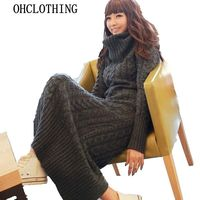 The new Europe and the United States winter women's wool dress thickening knit dress dress up a long time