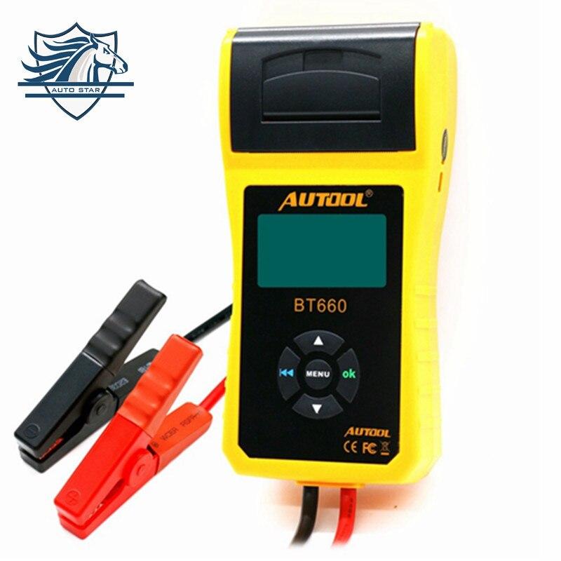 AUTOOL BT660 автомобиля батарея тестер с принтером BT660 батарея анализатор для затоплены CCA AGM гель EFB обнаружить плохой батарея ячейки