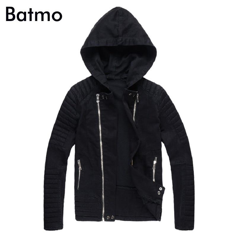 Batmo 2018 Новое поступление осенние высококачественные черные повседневные джинсовые куртки с капюшоном для мужчин, мужские модные куртки бол...