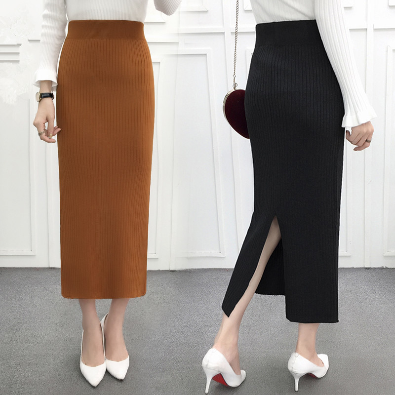 64614b17a Detail Feedback Questions about Korea Women Long Skirt Elastic Waist Woolen  Knitted Pencil Skirts Winter Spring Solid Office Ladies Skirt Autumn Jupe  Female ...