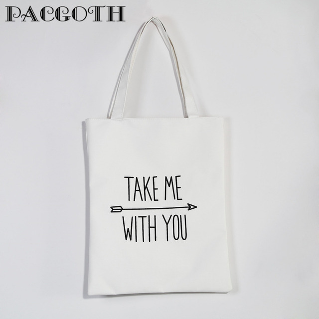 Pacgoth Korean Style White Canvas Tote Bags Black Message Shoulder