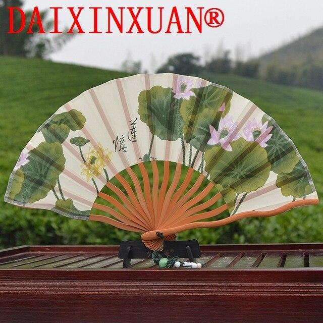 Beauty Lotus Flower Silk Hand Fan Folding Wedding Favors N 1