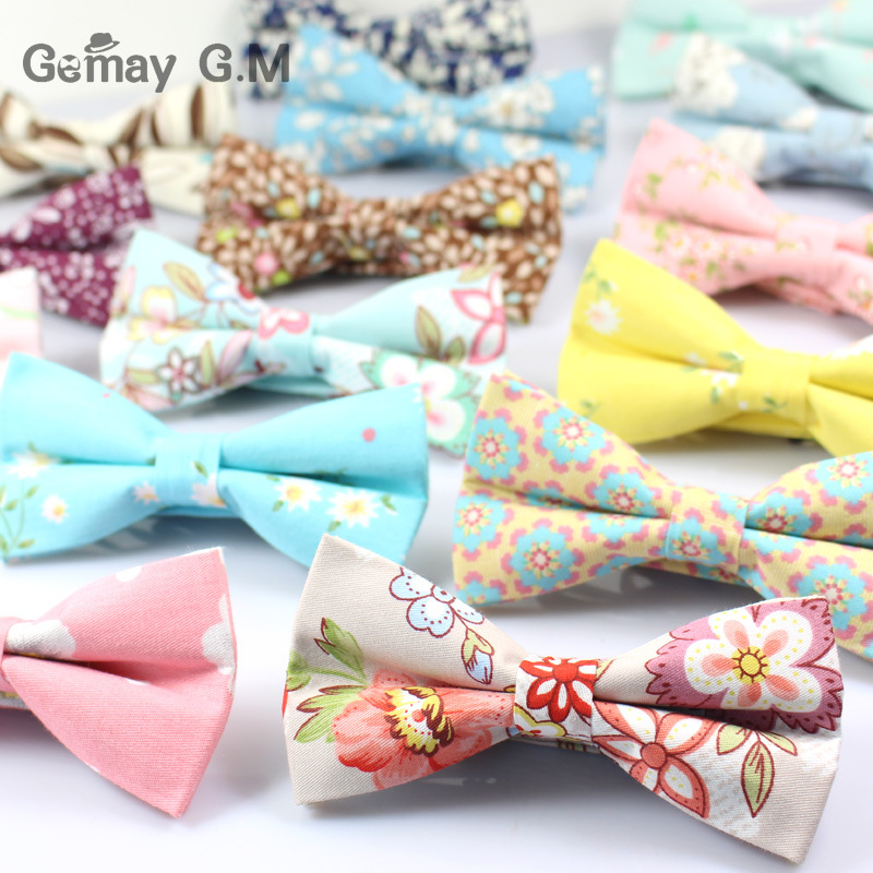Brand Cotton Mens Bowtie Slim Floral Skinny Bow Ties Cravat Flower Ties For Man Classic Party Business Male Shirt Bowties