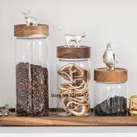 Food Storage Glass Jar No Lead Kitchen Storage Bottles Sealed Cans with Cover Large Capacity Candy Glass Jars Tea Box