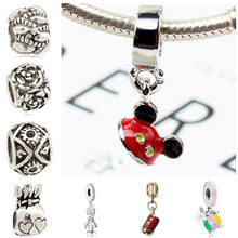 Minimalism Carved Flower Snowman Santa Claus Boy Mickey Enamel Pendant Beads Fit Pandora Charm Bangles for Women Making Jewelry(China)