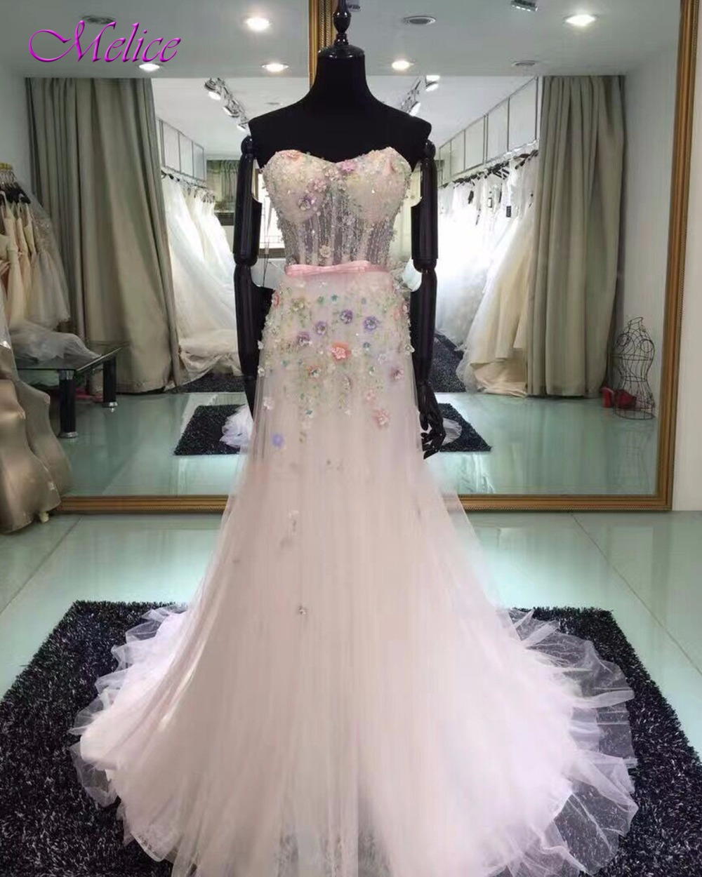 Fmogl Elegant Strapless Lace Up Mermaid Prom Dresses 2019 Princess Appliques Beaded Formal Party Gown Robe De Soiree Plus Size