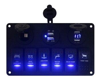 Aluminium 24 V morskich klasy niebieska dioda Led 6 Gang laserowo przełącznik przechylny Panel + 12 V Ciggy gniazdo + 4 porty USB ładowarki + Volt gauge