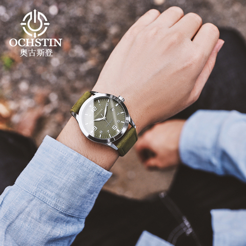 OCHSTIN Man Mechanical Pilot Wrist Watches For Men Luxury Casual Self Winding Leather Mechanic Male Clock Date relogio masculino Multan