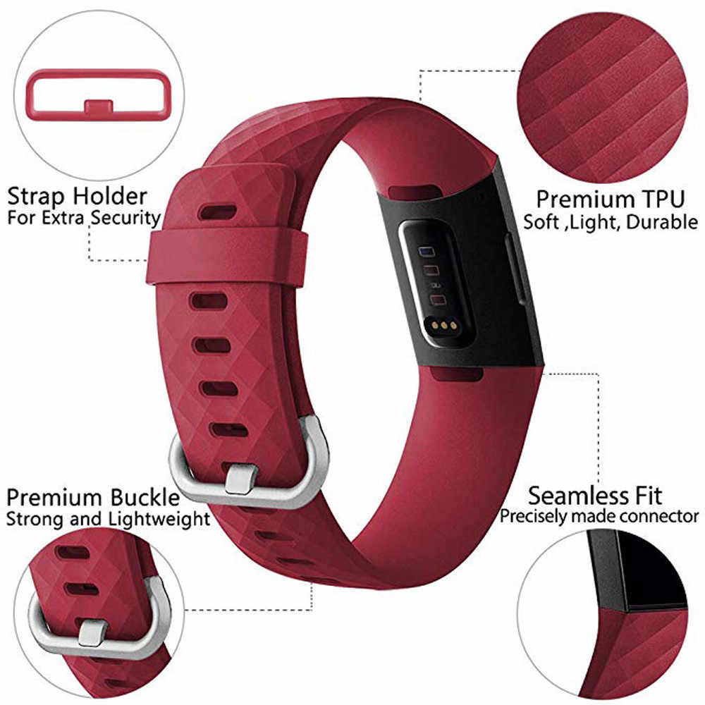 معصم معصم أسورة يد من دوساكي لملحقات Fitbit Charge 3 Band من السيليكون لملحقات Fitbit Charge3 Band