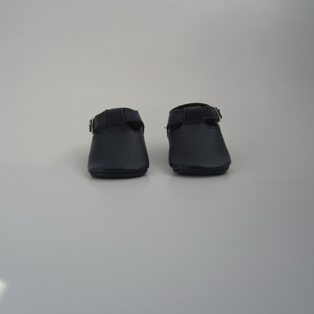 Navy blue Handmade Geninue Leather Infant T-bar baby Shoes