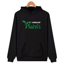 Meaningful Pattern Hoodie Promote To Be Vegan Hoodie Sweatshirt Powered By Plants Mens Interesting Clothes Hooded Sweatshirt