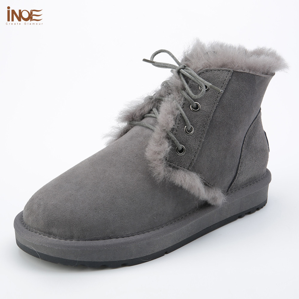 new style fashion genuine sheepskin leather fur lined men ankle winter snow boots for man lace up casual winter shoes Black front lace up casual ankle boots autumn vintage brown new booties flat genuine leather suede shoes round toe fall female fashion