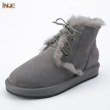 Nieuwe stijl mode echte schapenvacht lederen bont gevoerde mannen enkel winter snowboots voor man lace up casual winter schoenen zwart(China)