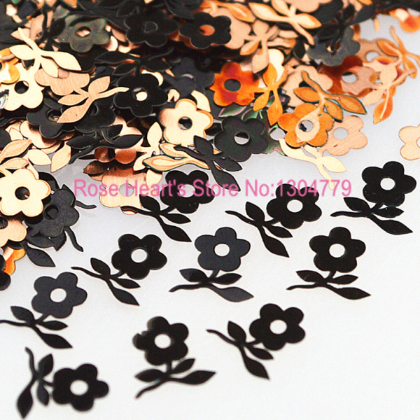Hot Brone Black Sunflowers Shape Metal Nail Art Sequins Decals Phone Stickers 3d 12 candy colors glass fragments shape nail art sequins decals diy beauty salon tip free shipping
