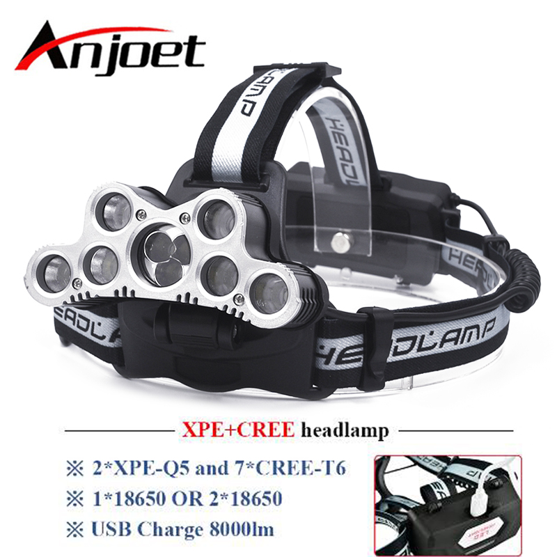 Anjoet super bright headlamp 9 CREE XML T6 LED headlight usb rechargeable head lamp 18650 high power led torch head flashlight r3 2led super bright mini headlamp headlight flashlight torch lamp 4 models
