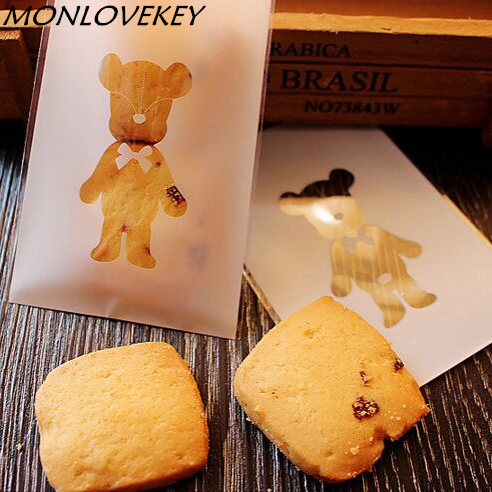 50pcs Cute Bear Style Cookies Biscuits Bags Self-adhesive Wedding Cellophane Bag Cake Candy Gift Bags Baby Shower Favors 7*10cm