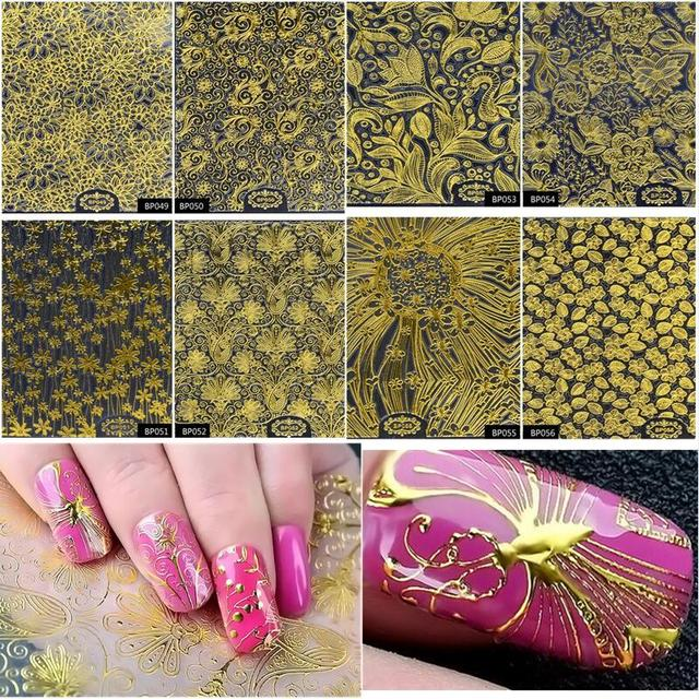 8pcs/Set Embossed 3D Tips Gold Metallic Blooming Flower Design Self-adhesive Nail Art Stickers Decals Decoration Manicure Tools