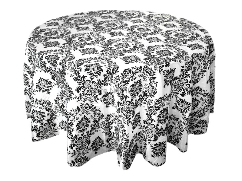 black and white flocking table cloth damask table cover taffeta table linen tablecloth for wedding banquet party decoration sale