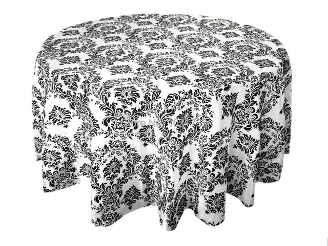 Nice Black And White Flocking Table Cloth Damask Table Cover Taffeta Table Linen  Tablecloth For Wedding Banquet