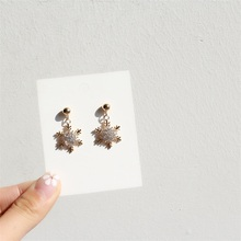 S925 silver needle earrings Korean inlaid zircon six-pointed star snowflake Creative personality cute