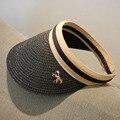 2016 Nueva llegada de la manera sombrero de paja para las mujeres adultas superior vacía casquillo del sol de verano gran sombrero de ala ancha con un bowknot chapeau 2016052305 u2