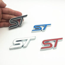 цена на FDIK CDIY 3D Metal ST Logo Chrome Car Emblem Badge Auto Exterior Decal Sticker Emblem For Ford Focus ST Mondeo Car-Styling