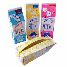 Caja de leche con diseño Kawaii, 10 unidades por lote, estuche para lápiz de PU de gran capacidad, resistente al agua, bolsa de lápices novedosa, bolsa de cosméticos, bonito regalo para niños