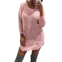Creative Design Sexy Fashion Womens Autumn Winter Knitted Shirt Pullover Hole Long Sweater Tops Blusa Feminina