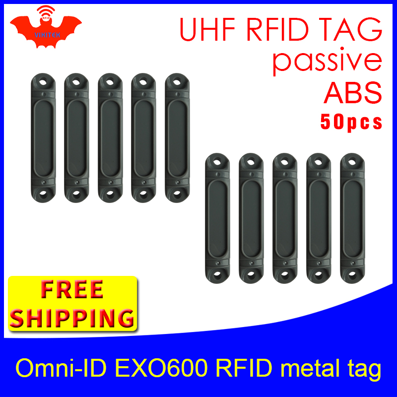 UHF RFID Anti-metal Tag Omni-ID EXO 600 915m 868m Impinj Monza4QT 50pcs Free Shipping Durable ABS Smart Card Passive RFID Tags