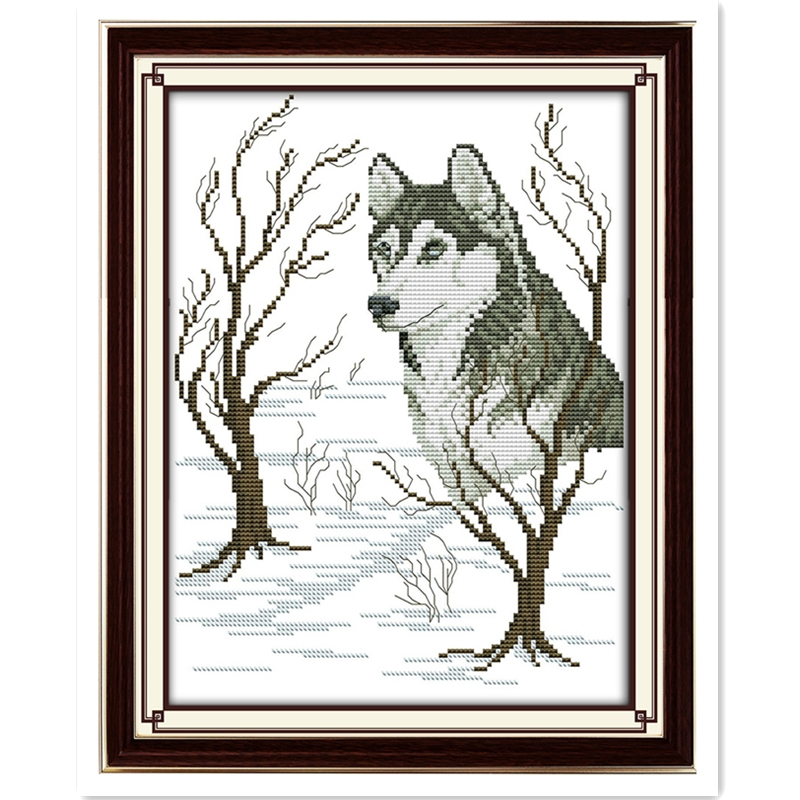 Sled Dog Chinese Counted Cross Stitch Patterns Kits DMC Cross Stitch Fabric DIY Set Embroidery Cross Sets Paintings Home Decor