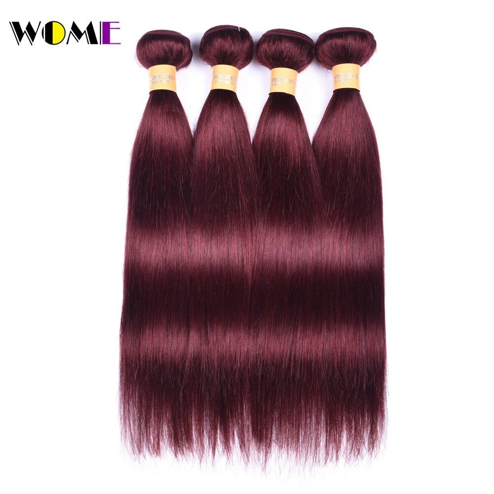 Wome Pre colored 99J Bundles Red Brazilian Hair Bundles Straight 4 Bundles Deal Human Hair Weaving