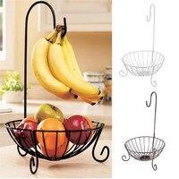 Novelty Kitchen Metal Fruit Basket with Detachable Banana Hanger Holder Hook