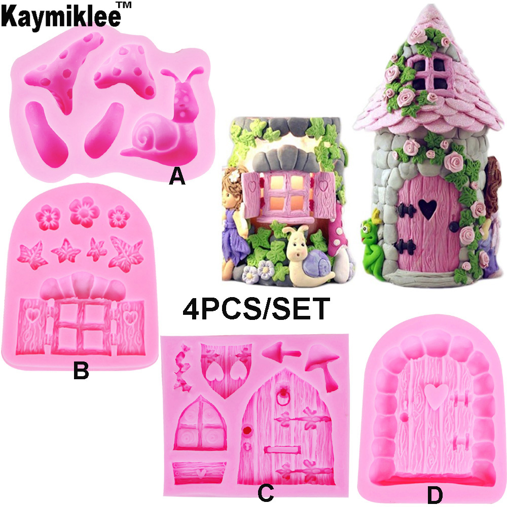 C179 Enchanted Vintage Home Door Fairy Garden Gnome Snail Silicone Mold Fondant Cake Decorating Tools Candy Chocolate Gumpaste
