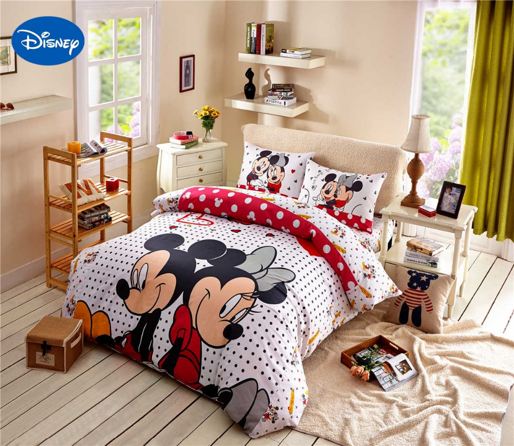 mickey mouse couette ensemble de literie reine taille dessin anime de disney minnie imprimer housse de couette lits complet 4 5 pcs enfant enfants chambre