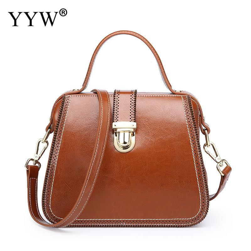 Retro Ladies genuine leather handbag Solid Luxury Handbags Designer Totes Big Capacity Shoulder bags