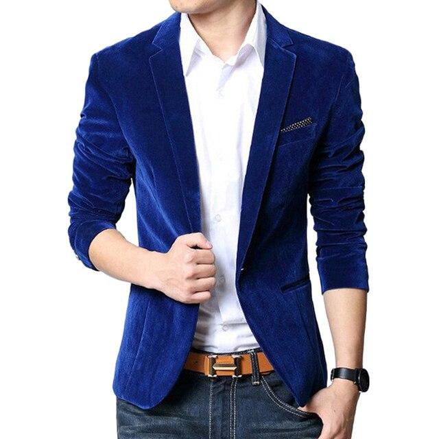 Chaqueta de los hombres slim fit traje chaqueta traje homme negro navy capa de terciopelo azul mens blazer Chaquetas marca de ropa Trajes Para hombres